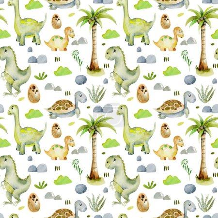 Photo pour Aquarelle dinosaures mignons et des tortues préhistoriques motif sans couture, peint à la main sur un fond blanc - image libre de droit