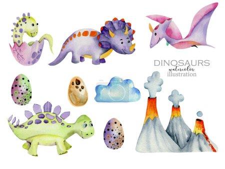 Photo pour Mignon dinosaures collection aquarelle illustration, peint à la main isolé sur un fond blanc - image libre de droit