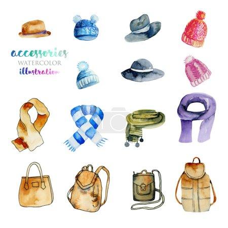 Accesorios de acuarela (sombreros, bufandas y bolsos) colección ilustración