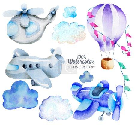 Photo pour Éléments de transport aérien aquarelle (avion, hélicoptère, montgolfière) collection, illustration pour enfants, illustration pour enfants, peint à la main isolé sur un fond blanc - image libre de droit
