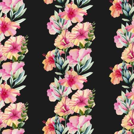 Photo pour Aquarelle hibiscus fleurs et feuilles ornement motif sans couture, peint à la main sur un fond sombre - image libre de droit