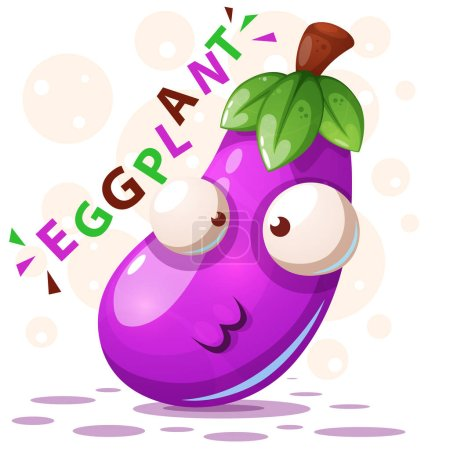 Photo for Cute eggplant illustration - cartoon characters. Vector eps 10 - Royalty Free Image
