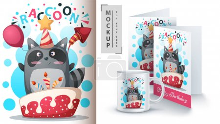 Happy birthday, raccoon - mockup for your idea. Ve...