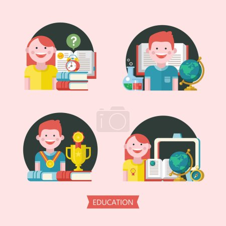 Set of vector emblems of education. Logo of school, College. Funny cute students, books, tutorials, globe, compass, alarm clock. Student with a medal and a sports Cup.