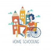 Home schooling The girl is a disabled person in a wheelchair gets his education at home Learning online Vector illustration The concept of homeschoolin