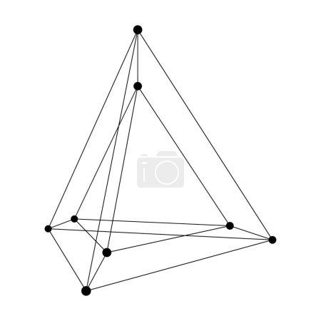 Hypertetrahedron 3D object. Vector Illustration