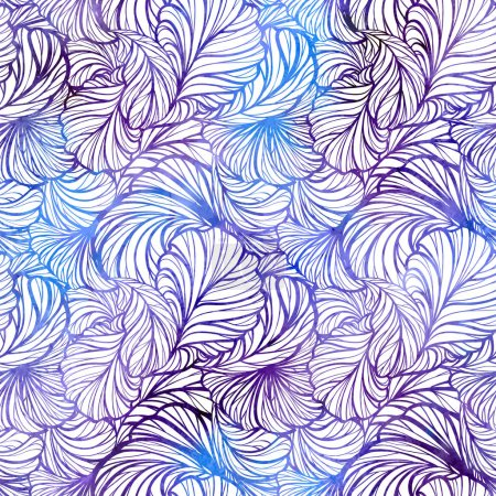 Vector abstract decorative feathers seamless pattern. Vibrant background.