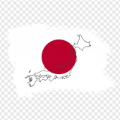 Flag of Japan from brush strokes and Blank map Japan High quality map of Japan on transparent background Stock vector Vector illustration EPS10