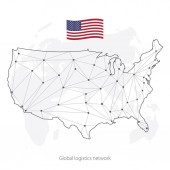 Global logistics network concept Communications network map of the USA on the world background Map United States of America with nodes in polygonal style and flag USA Vector illustration EPS10