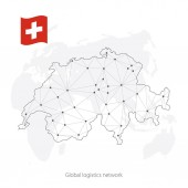 Global logistics network concept Communications network map Switzerland on the world background Map of Switzerland  with nodes in polygonal style and flag Vector illustration EPS10