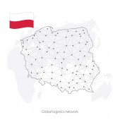 Global logistics network concept Communications network map Poland on the world background Map of Poland with nodes in polygonal style and flag Vector illustration EPS10