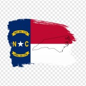 Flag of North Carolina from brush strokes and Blank map North Carolina United States of America  High quality map of North Carolina and flag on transparent background Stock vector EPS10