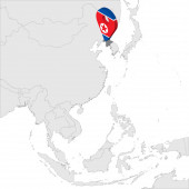 Democratic People's Republic of Korea Location Map on map Asia 3d North Korea flag map marker location pin High quality map North Korea for your design logo app UI EPS10
