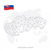 Global logistics network concept Communications network map  Slovakia on the world background Map of  Slovakia with nodes in polygonal style and flag Vector illustration EPS10