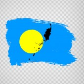 Flag Republic of Palau from brush strokes and Blank map Palau High quality map  Palau and flag on transparent background for your web site design logo app UI EPS10
