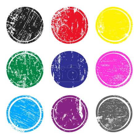 Illustration for Set of multicolored post stamps with grunge texture. Blank circle stamp template for logo, badge, insignia or label. Vector illustration. - Royalty Free Image