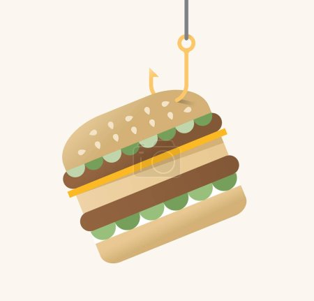 Vector illustration of hamburger on fishing hook. ...