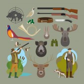Hunting vector elements Hunter and prey hunting equipment and trophies