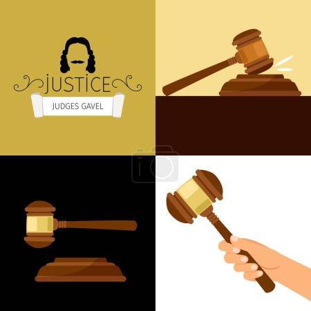 Judge gavel. Legal hammer cartoon vector illustration, adjudicator gavel in hand