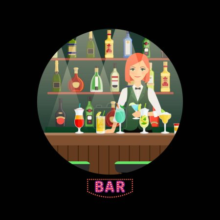 Photo for Bar and girl bartender vector round banner. Bar bartender woman, alcohol drink in nightclub illustration - Royalty Free Image