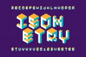 Isometric 3d font three-dimensional alphabet letters
