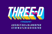 Three-dimensional style modern font design alphabet letters and numbers