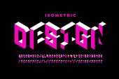 Isometric 3d font design three-dimensional alphabet letters and numbers