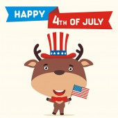 American independence day greeting card with cute funny cartoon character of happy deer in cylinder hat holding flag near text Fourth of July