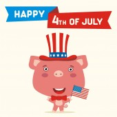 American independence day greeting card with cute funny cartoon character of happy pig in cylinder hat holding flag near text Fourth of July
