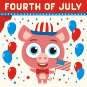 American independence day greeting card with cute funny cartoon character of happy pig holding flag near balloons and text Fourth of July