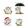 Set of charming cartoon characters of kittens in d...