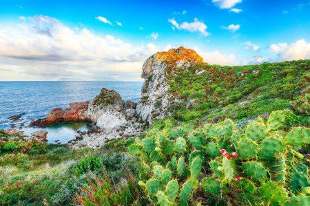 Photo for Dramatic spring sunset on the the cape Milazzo panorama of nature reserve Piscina di Venere.  Location: cape Milazzo,  Island Sicilia, Italy, Europe. Mediterranean and Tyrrhenian sea - Royalty Free Image