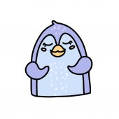 Cute baby penguin hand drawn vector character