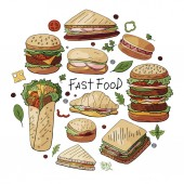 Hand drawn vector set of different types of burgers sandwiches and hot dogs isolated on white backgriond