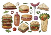 Set of different street food sandwiches and burgers isolated on