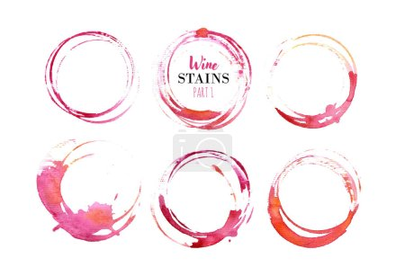 Photo pour Set of isolated red wine stain circles. - image libre de droit