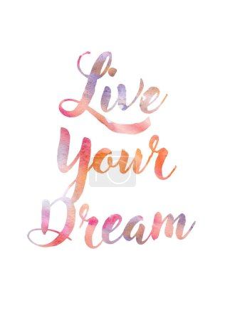 Typography with watercolor colorful letters. Quote for wall poster or mood board.