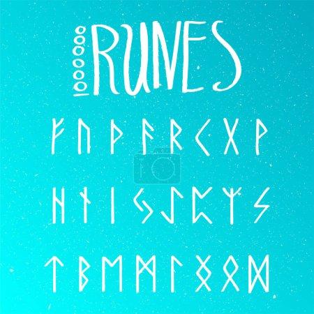 Set of Old Norse Scandinavian runes. Runic alphabe...