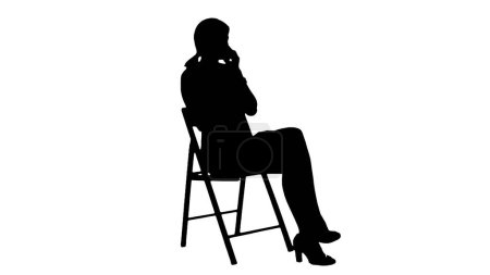 Photo for Silhouette Young Business Woman Using Telephone. Professional shot on BMCC RAW with high dynamic range. You can use it e.g in your commercial video, business video, office theme. - Royalty Free Image