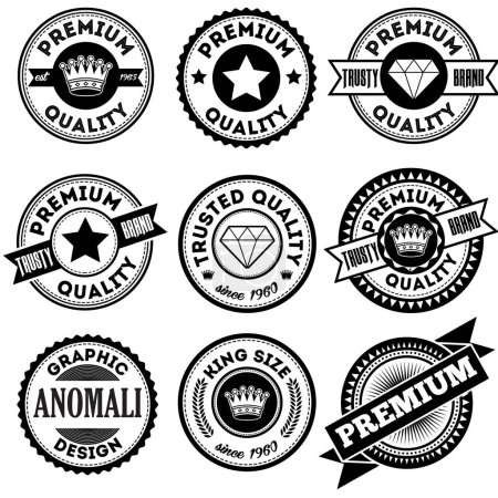 Photo for Set of classic company retro or old, vintage badges or banners, sign or logotype, labels and stickers with crown and star, ship steering wheel and anchor, glasses and moustache, laurel wreath - Royalty Free Image