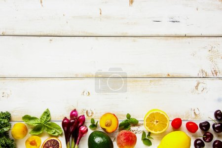 Photo for Fresh fruit, vegetables and greens flat lay. Summer food concept. Healthy life and vegetarian, vegan, dieting, clean eating ingredients - Royalty Free Image