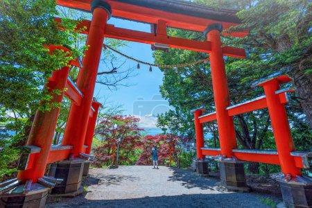 Torii gate of Chureito Pagoda with the Peak of Mt. Fuji in the spring on daytime in Fujiyoshida, Japan.