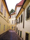 Prague, Czech Republic - August 23, 2016: Walk through the streets and sights of Prague. Historical buildings and cultural monuments