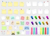 Mega pack of colored office paper stickers and metal pins with shadows isolated on white background Reminder tag elements mock up Vector illustration