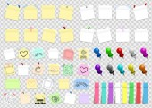 Mega pack of colored office paper stickers and metal pins with shadows isolated on transparent background Reminder tag elements mock up Vector illustration