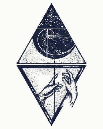 Photo pour Prêtant main forte t. Tatouage humain et universel. Symbole artistique de sauvetage, d'entraînement, de religion, d'éducation, de science, de philosophie, d'espoir, d'aide à la conception de t-shirts - image libre de droit