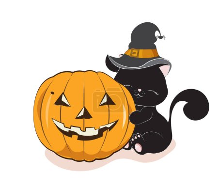 Illustration for The lovely black cat, kitten, in the witch hat with a spider, embraces pumpkin, the Halloween drawing - Royalty Free Image