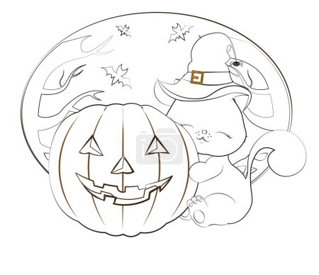 Illustration for Halloween lovely cat, kitten, in the witch hat with a spider, embraces pumpkin, the coloring book - Royalty Free Image