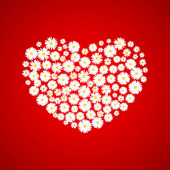 Heart Valentines day card White daisies on red background Wedding invitation card template Love concept Festive poster for 14 February Vector illustration