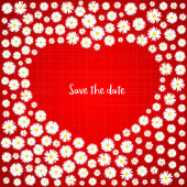 Save the date romantic card White daisies on red background Wedding invitation card template Love concept Valentines day Festive poster for 14 February Vector illustration